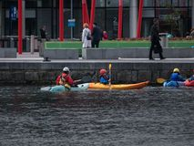 People in canoes, rowing, Grand Canal Dock, Dublin royalty free stock images