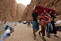 People in a canyon in Morocco Royalty Free Stock Photo