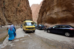 People in a canyon in Morocco Royalty Free Stock Photography