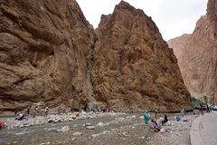People in a canyon in Morocco Stock Image