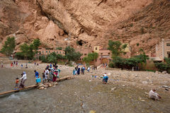 People in a canyon in Morocco Royalty Free Stock Images