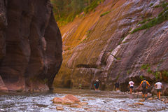 People in canyons Stock Image