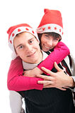 People in cap for Xmas Royalty Free Stock Photography