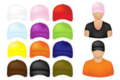People In Caps Icons. Vector. People Icons With Set Of Colorful Baseball Caps, Isolated On White Stock Photography