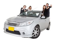 People with a car Royalty Free Stock Image