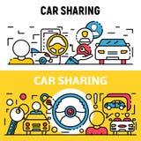 People car sharing banner set, outline style. People car sharing banner set. Outline set of people car sharing vector banner for web design vector illustration