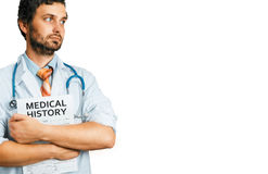 People Care And Medicine Concept. Young Male Doctor with Medical Document stock image