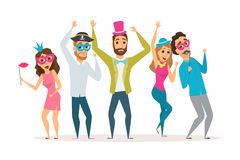 People at the carnival. Party. Friends celebrating birthday and laughing together. Group of happy men and women in costume at the masquerade. Cartoon characters Stock Images