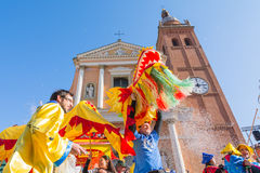 People at the carnival. San giovanni in persiceto,bologna,Italy-March 7,2015:funny people in colored carnival costume and masks celebrate at the traditional Stock Photos