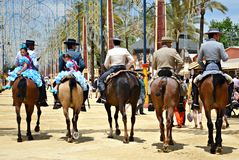 People in carriage horses Royalty Free Stock Image