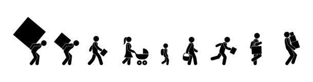 People carry wear, stick figure man icon royalty free illustration
