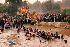 People carrying God Idol Ganesh for Immersion. royalty free stock photography
