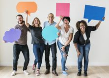 People carrying speech bubble icons royalty free stock photos