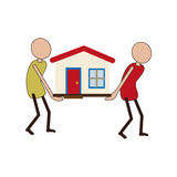 People carrying a toy house Royalty Free Stock Images