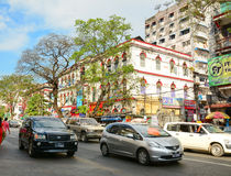 People, cars and bikes on the streets in Mandalay Stock Photos