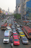 People in cars, buses and on motorbikes are moving, Bangkok, Thailand Royalty Free Stock Image