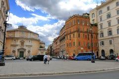 People and cars near the Church of San Bernardo alle Terme Stock Photography