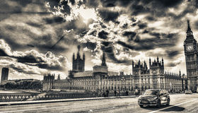 People and cars over Westminster Bridge, London - UK Stock Photography