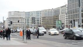 People, cars traffic at Berlin Potsdamer Platz stock footage