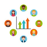 People cartoon icon. S around graphic chart over white background. colorful design.  illustration Royalty Free Stock Photos