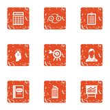 People cash icons set, grunge style. People cash icons set. Grunge set of 9 people cash vector icons for web isolated on white background Royalty Free Stock Image