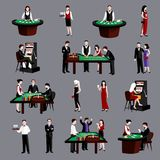 People In Casino. Young attractive people in casino gambling flat icons set isolated vector illustration royalty free illustration