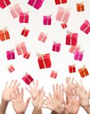 People catch the gifts on a white background Stock Photo