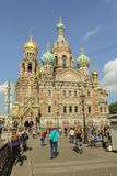People at the Cathedral of Our Savior on Spilled Blood. Royalty Free Stock Photography