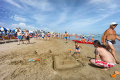 People on Cattolica Beach, Emilia Romagna, Italy Royalty Free Stock Images