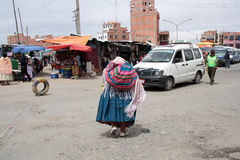 People at Ceja transport district in El Alto, La Paz Royalty Free Stock Images