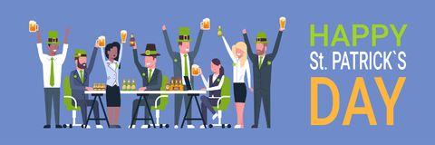 People Celebrate Happy St. Patrick Day Wear green Hats And Drinking Beer Horizontal Banner. Flat Vector Illustration Royalty Free Stock Images