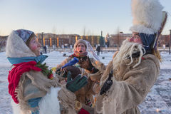 People celebrate holiday in winter Moscow. Moscow, Russia - January 07, 2015: People pictured caroling during celebration of Orthodox Christmas on 07 of January Stock Images