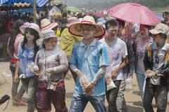 People celebrate Lao New Year in Luang Prabang, Laos. Stock Image