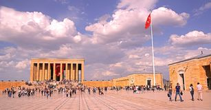 People celebrate May 19 Commemoration. Ankara/Turkey - May 19 2018: People celebrate May 19 Commemoration of Ataturk, Youth and Sports Day at Anitkabir, Mustafa royalty free stock images