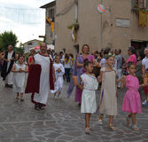 People celebrate a medieval feast in Orvieto Royalty Free Stock Image