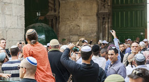 People celebrate near exit from Temple Mount. Jerusalem, Israel. Royalty Free Stock Photos