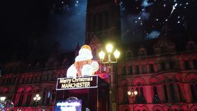 People celebrate New Years Eve at Albert Square in Manchester - MANCHESTER, ENGLAND - JANUARY 1, 2019. People celebrate New Years Eve at Albert Square in stock video