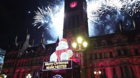 People celebrate New Years Eve at Albert Square in Manchester - MANCHESTER, ENGLAND - JANUARY 1, 2019. People celebrate New Years Eve at Albert Square in stock video footage