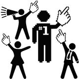 People celebrate number 1 success hand cursor. A set of number 1 symbol people raise up pixel cursor hand icons high to celebrate one success Royalty Free Stock Photo