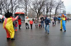 People celebrate Shrovetide in Moscow, they jump the rope Royalty Free Stock Images