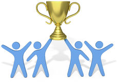 People Celebrate Team effort win trophy. People celebrate win of trophy won by successful group teamwork vector illustration