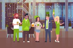 People Celebrate Traditional Saint Patricks Day Wearing Green Clothes And Drinking Beer. Flat Vector Illustration Stock Image