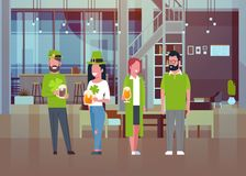 People Celebrate Traditional Saint Patricks Day Wearing Green Clothes And Drinking Beer. Flat Vector Illustration Royalty Free Stock Photos