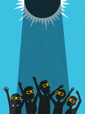 People celebrate watching the solar eclipse with protective glasses. Retro style poster template, banner or card. vector illustration Royalty Free Stock Photo