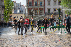People celebrate water day royalty free stock images