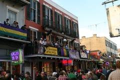 People celebrated crazily in Mardi Gras parade. Stock Photos