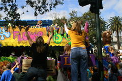 People celebrated crazily in Mardi Gras parade. Royalty Free Stock Photo