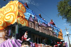 People celebrated crazily in Mardi Gras parade. Stock Images