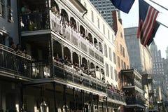 People celebrated crazily in Mardi Gras parade. Stock Photo