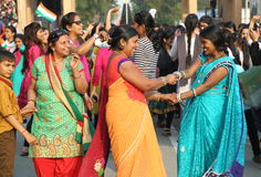 People celebrating at the border flag lowering ceremony. Evening flag lowering ceremony at India and Pakistan Border in Wagah, which partitioned the Indian Royalty Free Stock Photos